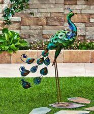 "Peacock Bright Bird Garden Yard Statue Metal Stake Lawn Art Decor Ornament 31""H"