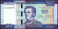 2016 Liberia $10 Dollars Banknote * First Prefix 'AA' * UNC * P-32a *