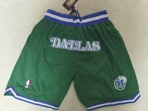 Dallas Mavericks Retro Men's Green with Pockets Basketball Shorts Size S-XXL