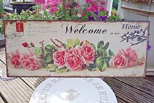 Shabby Blechschild Bild Welcome To Our Home Rosen 20 x 50cm Retro Antik Stil NEU