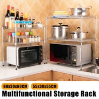 2 Tier Stainless Steel Microwave Rack Holder Storage Organizer Kitchen Container