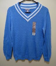 Women's White Stag V Neck Tennis Sweater L Blue Long Sleeve Preppy
