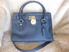 Michael Kors Leather Hamilton Bag Navy Blue Medium