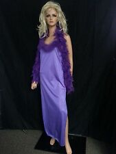 NWT TRIANGLE USA Lingerie Long Gown Night Honey Moon Purple Feathers Boa Sexy M