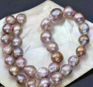 Huge 14-16mm natural south seas pink purple kasumi pearl necklace 18'' 14K