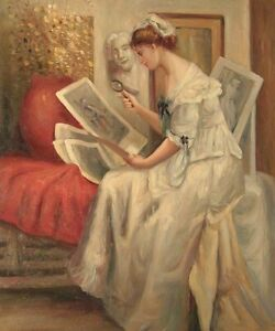 """24""""x 20"""" Oil Painting on Canvas, Young Lady Sat with Paintings, Hand Painted"""