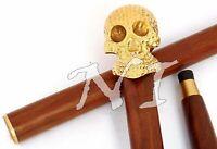 Vintage Designer Brass Handle Antique Style Wooden Walking Stick Nautical Cane