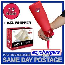 CREAM DISPENSER WHIPPER EZYWHIP PRO 0.5L RED & 10 N2O CHARGERS NITROUS BULBS