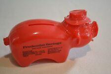 ORIGINAL RED PLASTIC PRUDENTIAL SAVINGS AND LOAN PIGGY BANK
