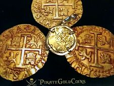 COLOMBIA FLEET SHIPWRECK PENDANT 2 ESCUDOS PIRATE GOLD COINS JEWELRY NECKLACE