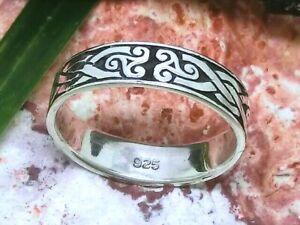 Triskele keltischer Knoten 925 Sterling Silber Ring Bandring Kelten Gothic