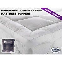 Puradown Hotel Quality Goose Feather and Down Mattress Topper -All Sizes
