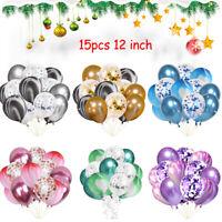 "15 Pcs 12"" Marble Agate Effect Latex Confetti Fill Balloon Birthday Party Decor"