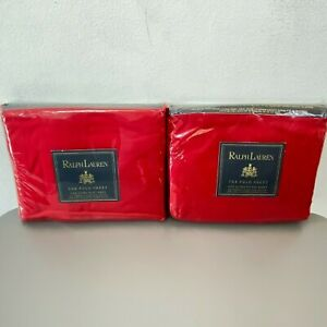 Ralph Lauren Polo Queen Flat and Fitted Sheets Red Pima NEW SEALED Vintage K4