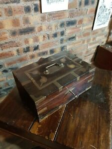 Antique Anglo Indian Brass bound Box with Working key.