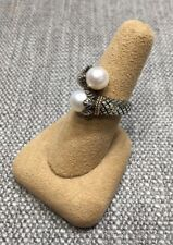 Andrea Candela ACR56-P Vibora White Pearl Sterling 18k Gold Twist Ring