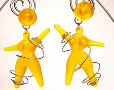 SoHo® Ohrclips Eva mit Spirale orange Kunstharz große Ohrclipse retro resin Köln
