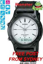 CASIO WATCH DUALTIME STOP WATCH AW49 AW49H AW-49H-7EV 12-MONTH WARRANTY