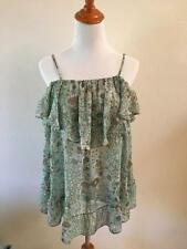 Victorias Secret Ruffled Top Blue Sleeveless Feminine Semi Sheer sz S Baby Doll