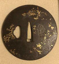Large, Signed Aizu Shoami Tsuba, 80 mm NR