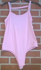 Poof Sleeveless Tank Pink Bodycon Bodysuit Leotard Top Snap Front Rouching L