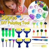 30Pcs Kid Sponge Brush Paint Roller Child Toy Preschool Art DIY Painting Tool