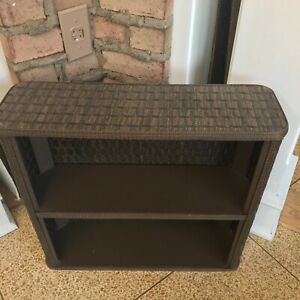 Vintage Wall Mount / free standing 2 Tier wicker and wood Shelf brown