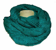 Tube Scarf Loop Round Scarf Knitted Knitted Scarf Cable Knit Petrol tbj002