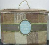 LARGE BEIGE CHECK 100% Cotton Sofa / Bed Throw 230 x 254cm