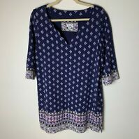Lucky Brand Women's Tunic Top Size Large 3/4 Sleeves Casual Cotton Blend Purple