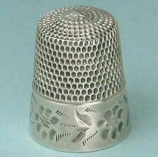 Antique Sterling Silver Folk Art Thimble by Simons Brothers * Circa 1880s