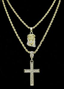 """14k Gold Plated 2 pc Jesus & Cross 20"""" 24"""" Rope Chain Set Mens Womens Hip Hop"""
