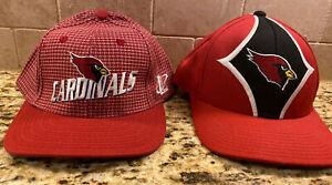 WOW! Lot of 2 Vintage 90's Arizona Cardinals NFL Adjustable Hats Caps