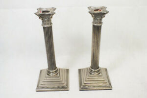 Vintage Godinger Silverplate Column Candlestick Pair 1992 11 1/2 inches Tall
