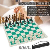 Plastic Chess Folding Mat Gambit Tournament Chess Set Carry Bag Kids Game Gift