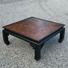 ETHAN ALLEN Hollywood Regency Chinoiserie Burl & Black Lacquer Coffee Table