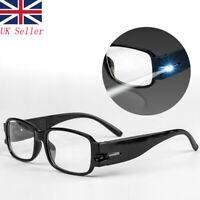 Reading Glasses Eyeglass Spectacle Diopter Magnifier LED Lighting Up +1.5~+4.0