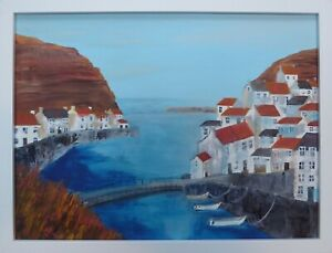 The Beck at Staithes : original framed painting, harbour, houses, Yorkshire,