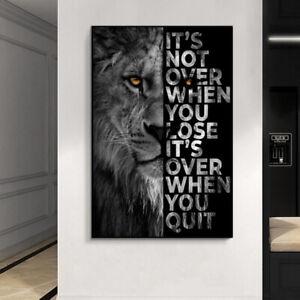 Lion Letter Motivational Quote Art Canvas Painting Posters Prints Wall Art Decor