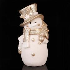 Hand Painted Christmas Decoration Light Up Snowman Figurine Gold Glitter & White