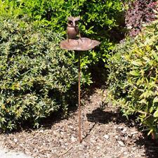Bronze Metal Owl Wild Bird Feeder Bird Bath Table Outdoor Garden Gift Ornament