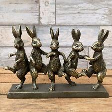 Vintage Bronze Effect Resin Five Dancing Hares Figure Statue Sculpture Ornament