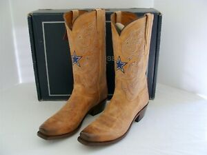 Lucchese Mens DALLAS COWBOYS Tan Embroiderd Western Boots Size 11D New