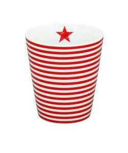 Krasilnikoff - Happy Mug, kleine Streifen rot, HM344, Becher, tiny stripes red