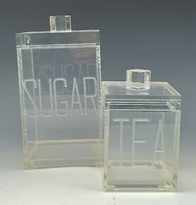 Mid Century Modern Lucite Acrylic Sugar & Tea Lidded Canister Storage Boxes RMG