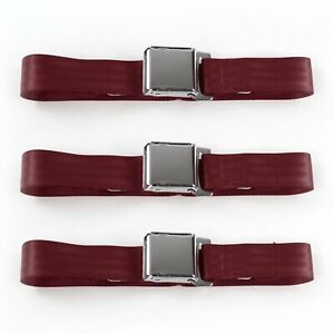 Early Cars 1928 - 1932 Airplane 2pt Burgandy Lap Bench Seat Belt Kit - 3 Belts