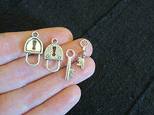 Pack of 5 Antique Silver Lock and Key Alice in Wonderland Toggle Clasp