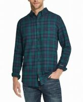 Weatherproof Mens Shirt Green Size 2XL Button Up Plaid Print Pocket $55 #248