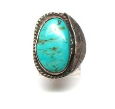 Old Pawn Navajo Handmade Sterling Silver Turquoise Ring Size 6