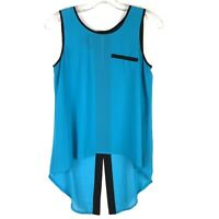 By & By Womens Shirt Size Small Teal Blue Black Hi Low Semi Sheer Sleeveless P